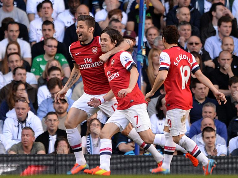 Rosicky celebrates after scoring the only goal at White Hart Lane