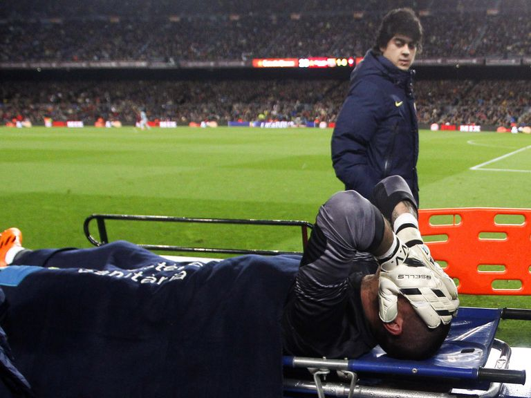 Victor Valdes: Stretchered off against Celta Vigo and will now miss the World Cup