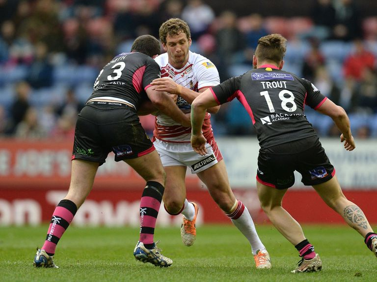 Sean O'Loughlin in action for Wigan on Sunday