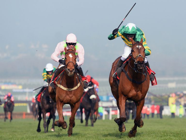 Annie Power (l) loses out to More Of That in the World Hurdle