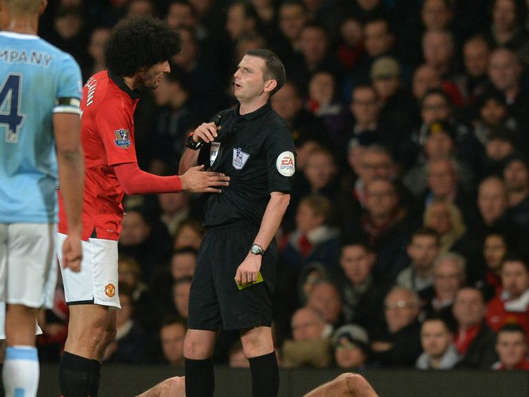 Marouane Fellaini: Booked for his clash with Pablo Zabaleta
