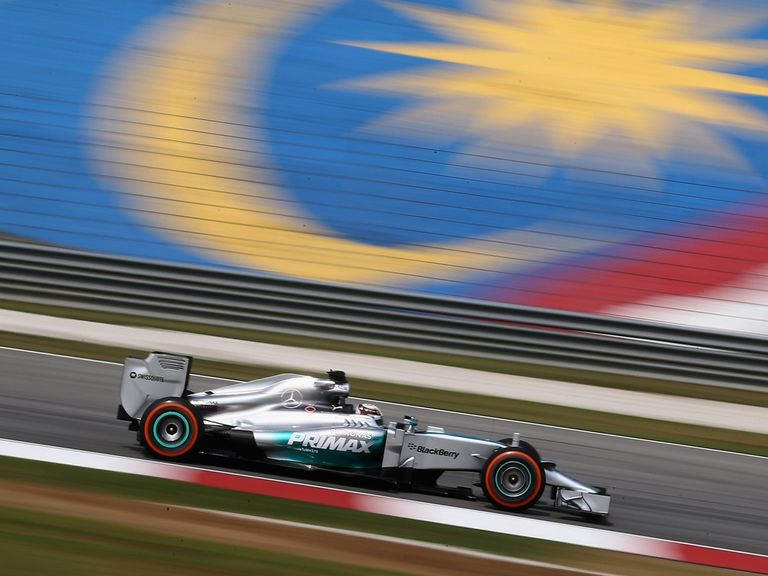 Lewis Hamilton drives during practice on Friday