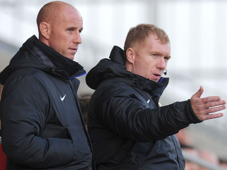 Paul Scholes (right): Joined Man United backroom staff