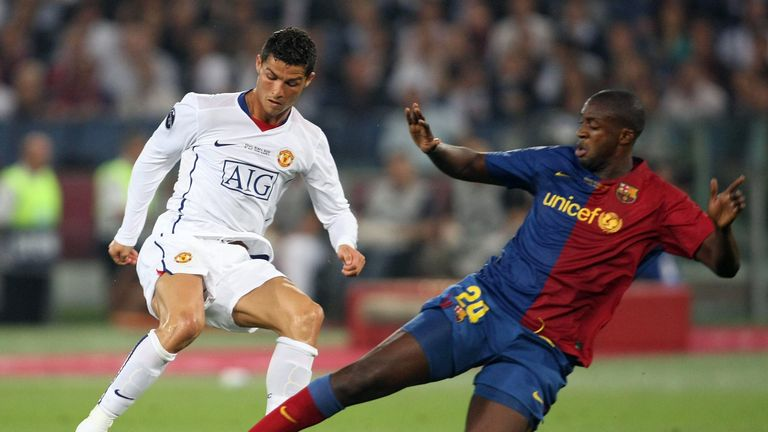 In action for Barcelona against Cristiano Ronaldo in the 2009 Champions League final