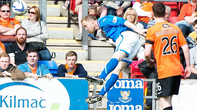 St Johnstone defender Steven Anderson opens the scoring against Dundee United