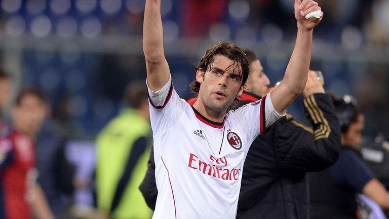 Andrea Poli celebrates Milan's win