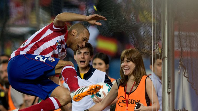 Joao Miranda: Celebrates his goal for Atletico
