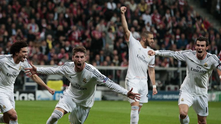 Sergio Ramos wheels away in celebration as Madrid booked their place in the final