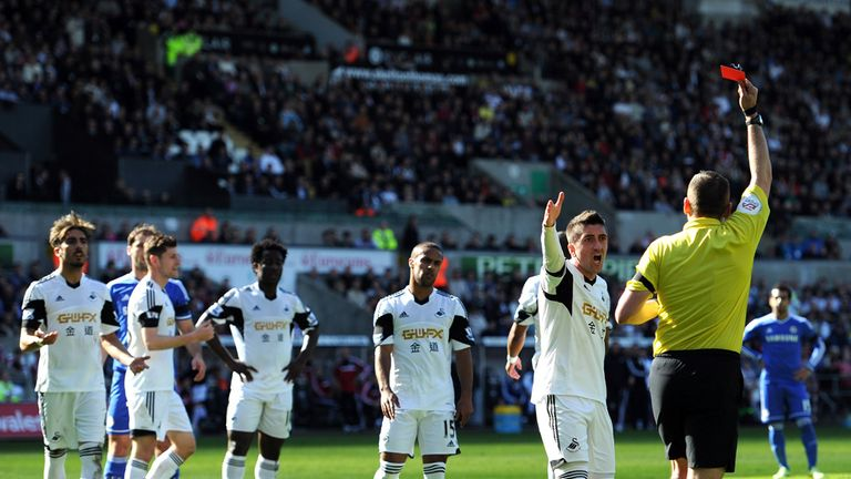 Chico Flores: Swansea defender was sent off for two yellow cards