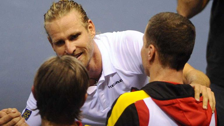 Peter Gojowczyk: Celebrates with his team-mates after stunning victory
