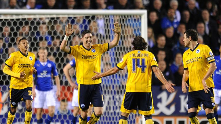 Stephen Ward celebrates his opening goal for Brighton