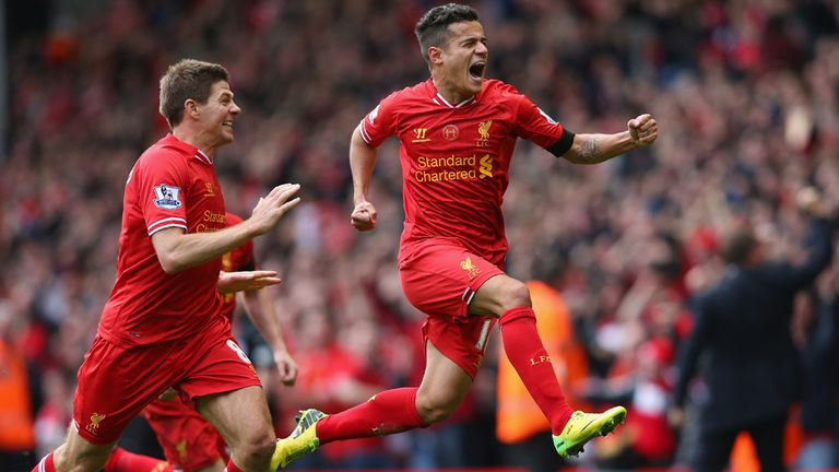 Philippe Coutinho celebrates his winner for Liverpool