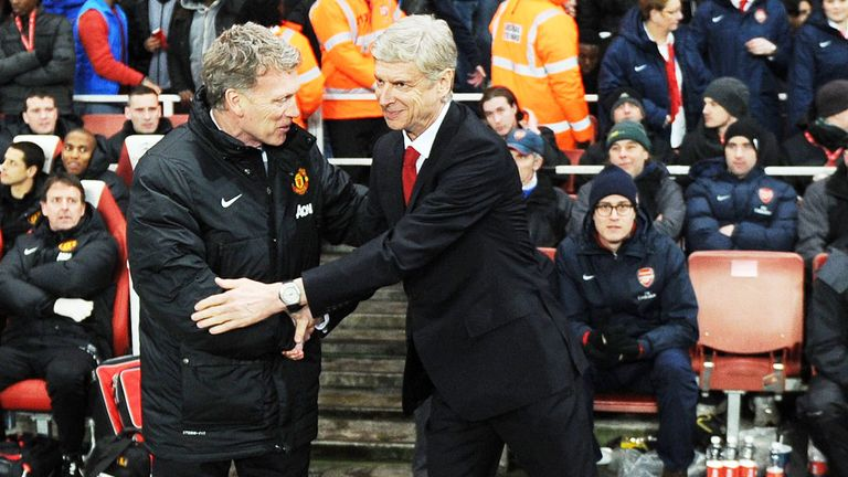 Arsenal boss Arsene Wenger (r) with former Manchester United manager David Moyes