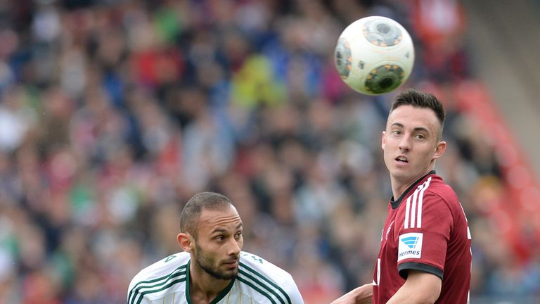 Nuremberg's Josip Drmic and Leverkusen's Oemer Toprak