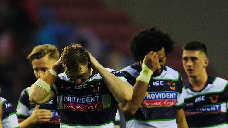 Bradford players feel the pain after their crushing defeat at Wigan on Monday