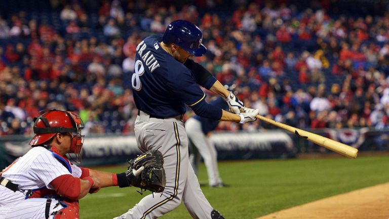 Ryan Braun: His two-run triple in the eighth inning was crucial for the Brewers