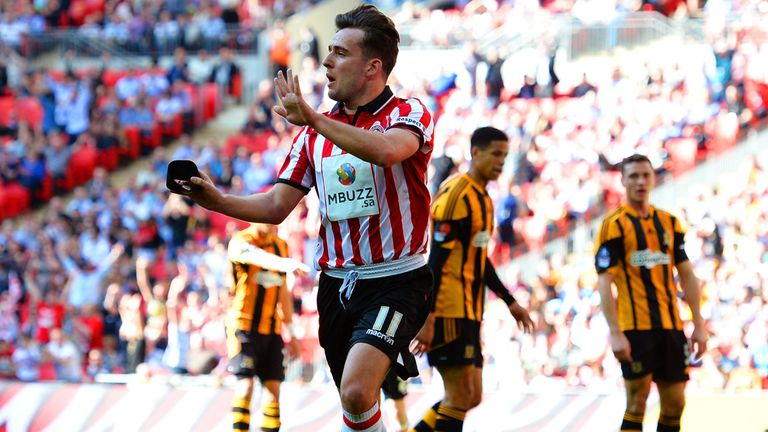 Jose Baxter: Celebrates his goal at Wembley for United