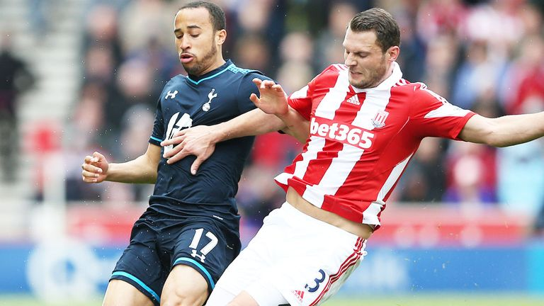 Andros Townsend (l): In action for Tottenham against Stoke