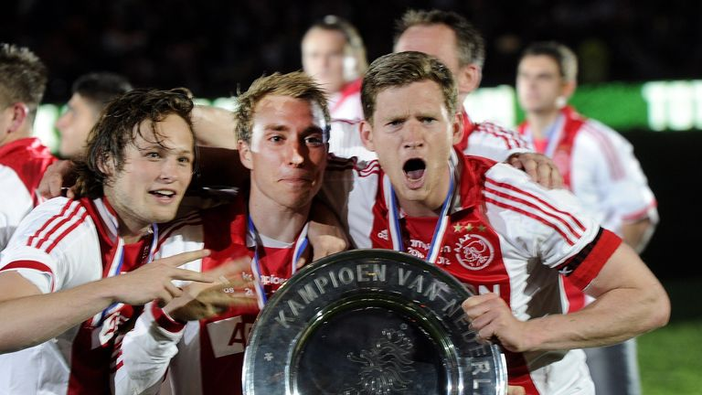 Man Utd target Daley Blind with Spurs duo Christian Eriksen and Jan Vertonghen, during their Ajax days