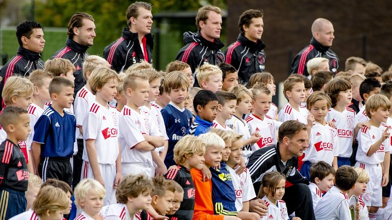 Children take part in training at the Ajax clinic in the youth complex 'The Future in Amsterdam'