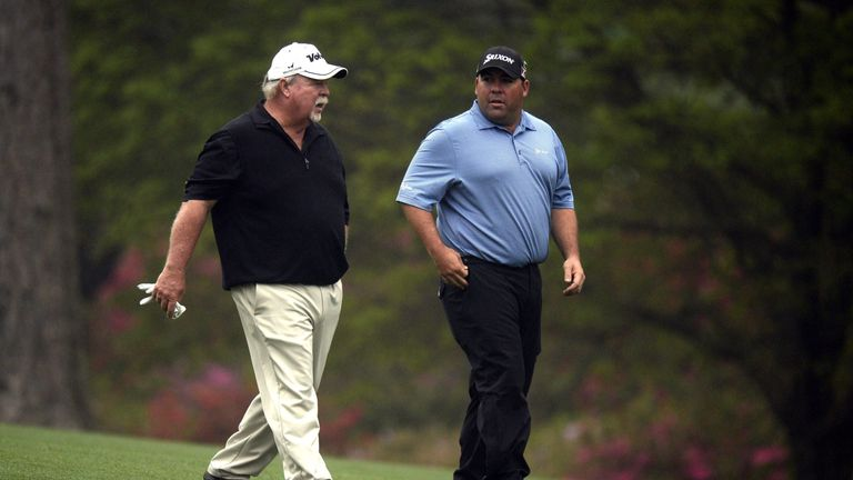 Craig Stadler (left): 1982 Masters champion passes on some advice to son Kevin