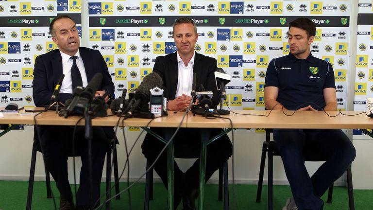 David McNally (l): Backed Adams (c) to keep Norwich up