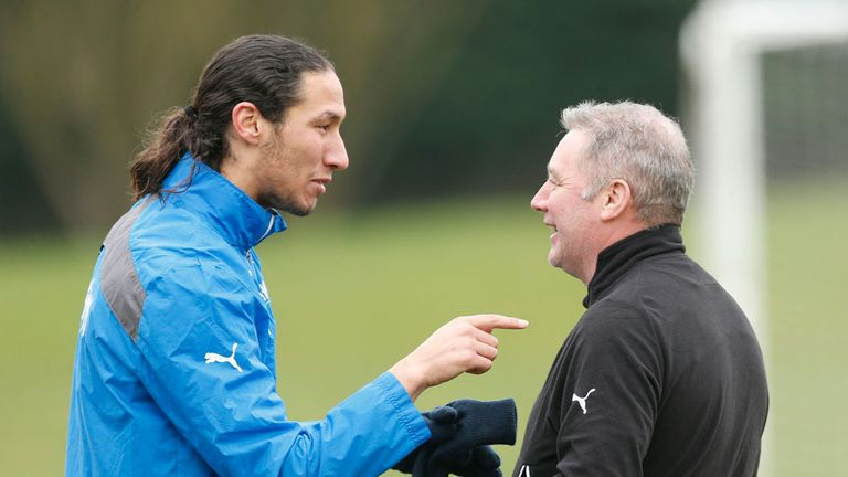 Bilel Mohsni makes his point to Rangers boss Ally McCoist in training