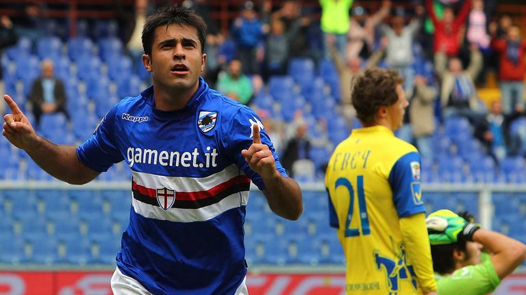 Citadin Eder: Celebrates his equaliser for Sampdoria