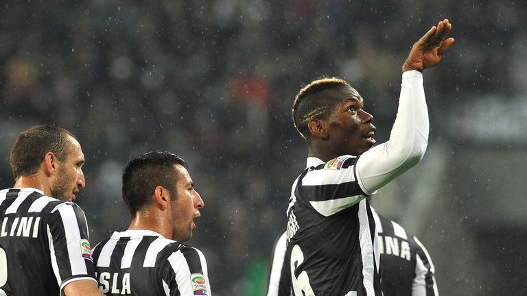 Paul Pogba of Juventus celebrates after scoring the only goal of the game