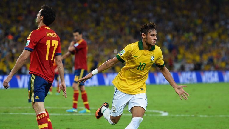 Been there: The striker netted twice against Spain in the Confederations Cup final last year