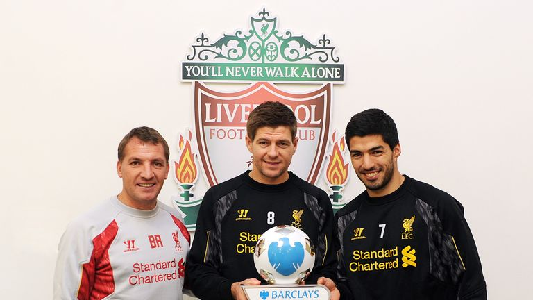 Brendan Rodgers, Steven Gerrard and Luis Suarez with the March award