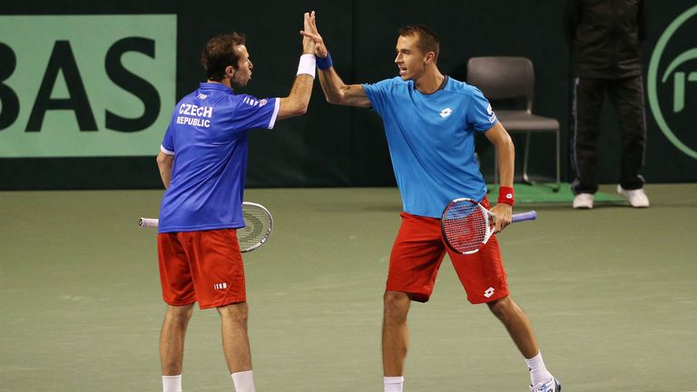 Radek Stepanek and Lukas Rosol celebrate clinching victory for the Czech Republic