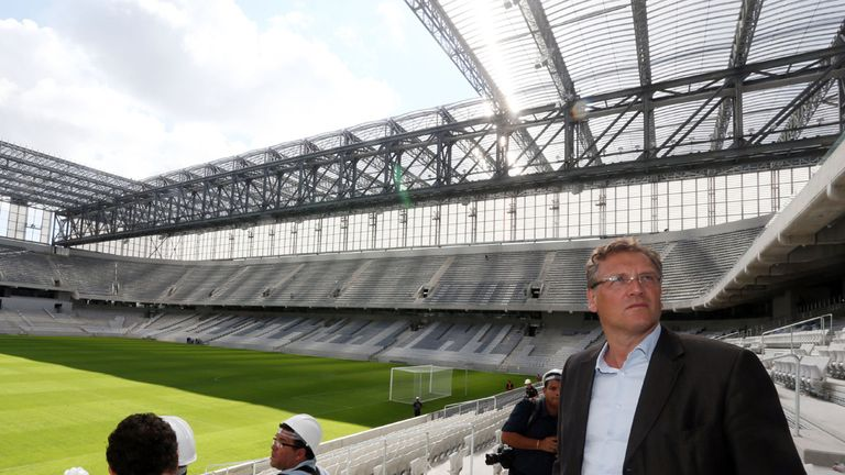 FIFA's secretary general, Jerome Valcke, inspects the Arena da Baixada in Curitiba.