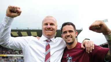 Sean Dyche: Celebrates promotion with Danny Ings