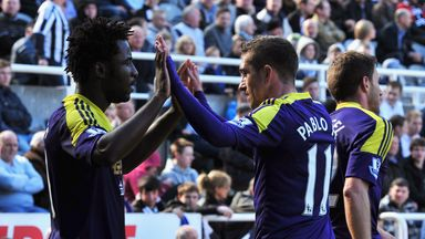 Wilfried Bony: Celebrates his winning goal at St James' Park