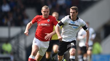 Stephen Dawson (l): In action for Barnsley against Derby