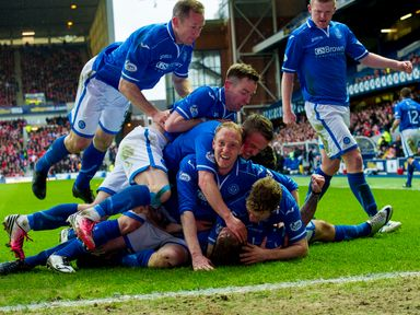 St Johnstone celebrate at Ibrox