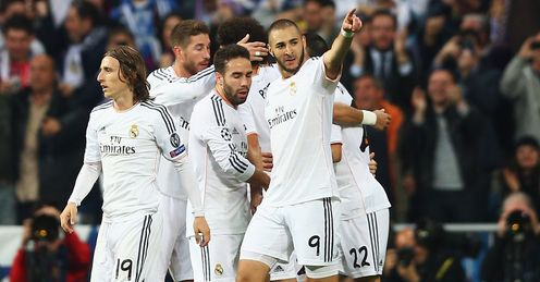 Karim Benzema: Celebrates after netting the opener for Real Madrid