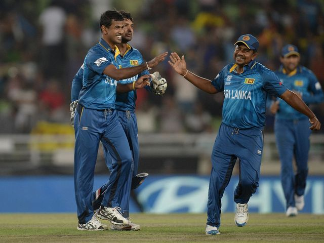 Sri Lanka celebrate during their semi-final victory