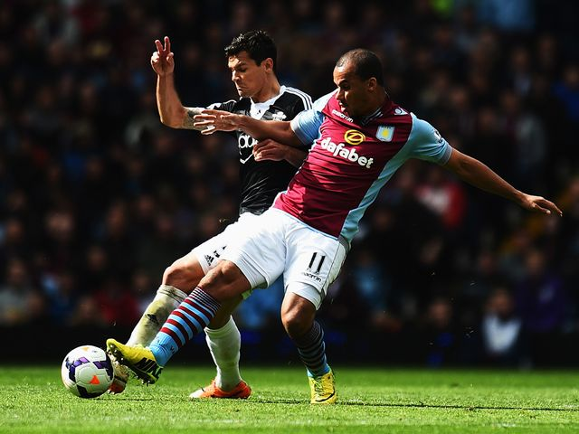 Dejan Lovren is challenged by Gabriel Agbonlahor