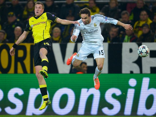 Kevin Grosskreutz and Daniel Carvajal compete for the ball