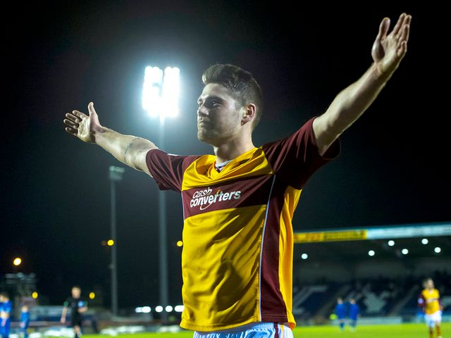 Iain Vigurs celebrates after scoring for Motherwell