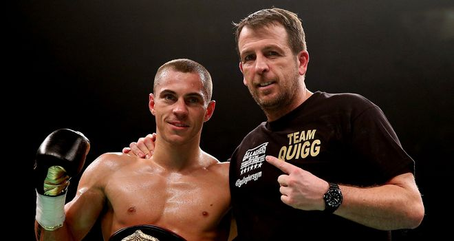 Joe Gallagher celebrates another victory with world champion Scott Quigg