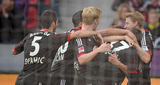 Leverkusen celebrate Lars Bender's opener