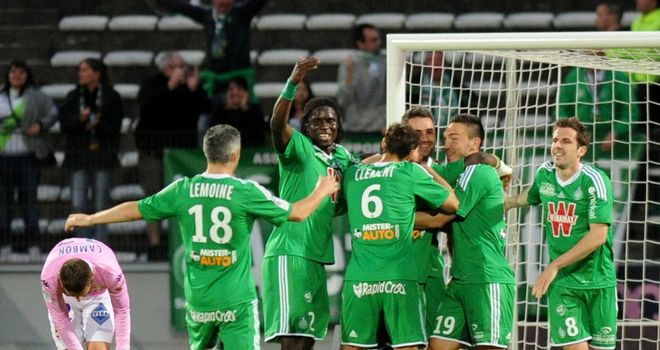 Saint Etienne players celebrate after scoring