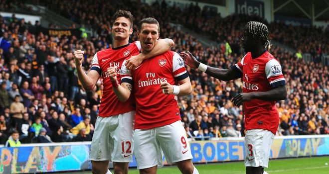 Lukas Podolski: Celebrates scoring in Arsenal's 3-0 win at the KC Stadium