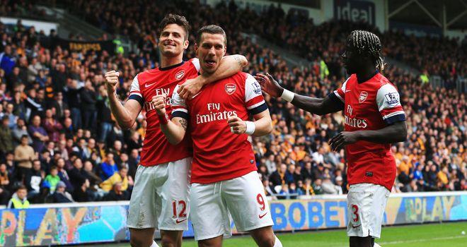 Lukas Podolski: Celebrates scoring in Arsenal's 3-0 win at the KC Stadium