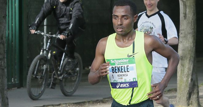 Kenenisa Bekele trotting through the streets of Paris on Sunday morning, en route to a debut victory in the marathon