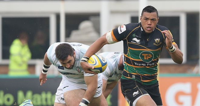 Luther Burrell on the charge for Northampton