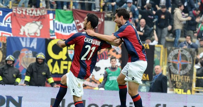 Niccolo Cherubin celebrates his goal for Bologna